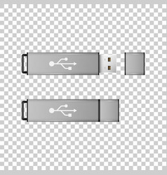 realistic silver usb flash drive isolated object vector image