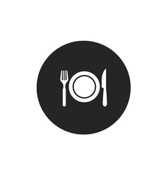 restaurant icon fork plate and knife vector image
