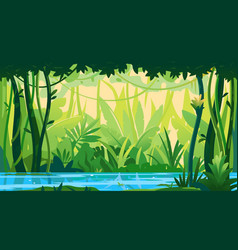 River in topical forest nature background vector