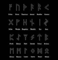 Rune set of outline letters on black background vector