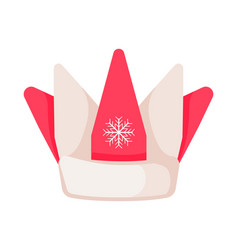 Santa claus hat in form of crown with snowflake vector