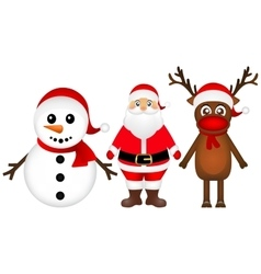 Santa Claus with reindeer and a snowman standing vector