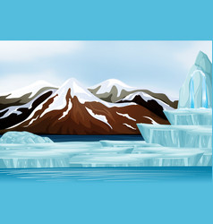 scene with snow on mountains vector image