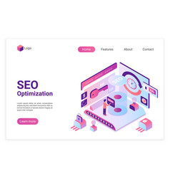 seo isometric landing page template vector image