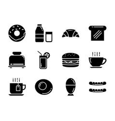 set breakfast icon flat design symbols for vector image