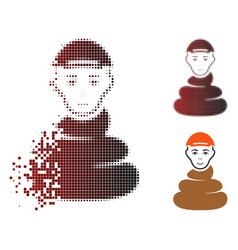 Shredded dot halftone shit boy icon with face vector
