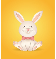 Sitting rabbit with a red bow vector