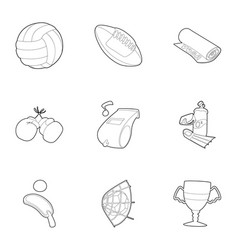 sport equipment icons set outline style vector image