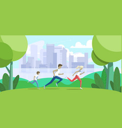 sport family father mother and son jogging vector image