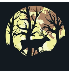 Stag over Full Moon vector