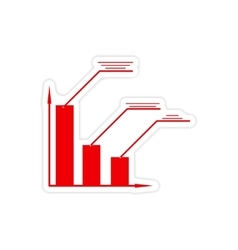 stylish sticker on paper economic graph on white vector image