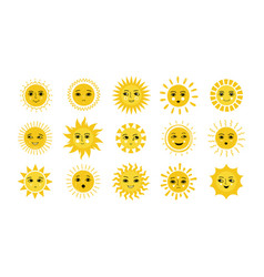 sun face doodle yellow smiles with sunbeams vector image
