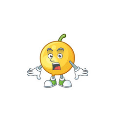 Surprised mundu fruit cartoon in character mascot vector