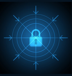 Technology digital cyber security lock target vector