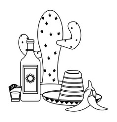 tequila mexican drink in black and white vector image