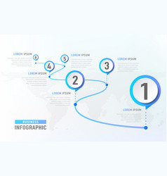 timeline infographic 6 milestone like a road vector image