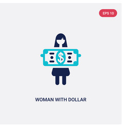two color woman with dollar bill icon from vector image