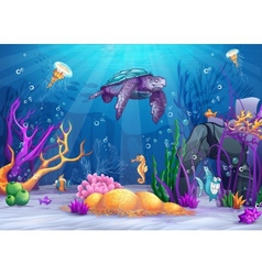 Underwater world with a funny fish and turtle vector
