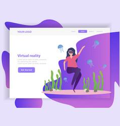 virtual reality orthogonal landing page vector image