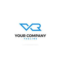 vr letters logo line vector image