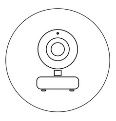 web camera icon black color in circle isolated vector image