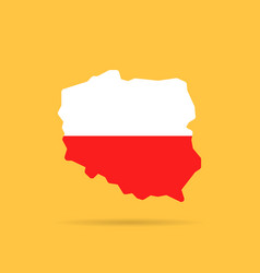 White and red poland map icon vector