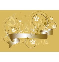 White flowers on yellow flickering background vector