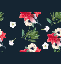 Winter bloom pattern design with bird foliages vector