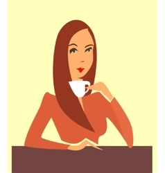 Woman drinking coffee tea vector