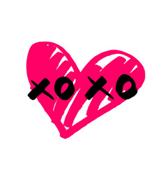 Xoxo hand drawn sign with pink heart isolated on w vector