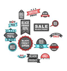 black friday icons set cartoon style vector image
