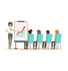 businesswoman pointing at a whiteboard with growth vector image