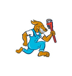 Dog Plumber Running Monkey Wrench Cartoon vector image