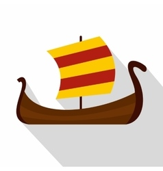 Medieval boat icon flat style vector image vector image