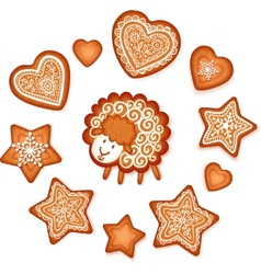 Sweet gingerbread stars hearts and sheep Christmas vector image vector image