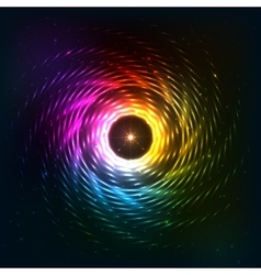 Abstract rainbow neoncosmic spiral background vector image