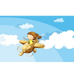 A wooden plane with a girl vector image