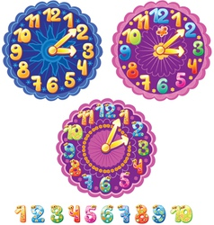 Funny clock for kids and numbers vector image vector image