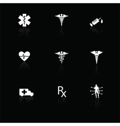 Medical icons white on black with reflections vector image