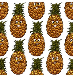 Seamless background with pineapple character vector image vector image
