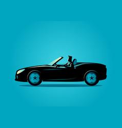 Successful businessman driving a convertible car vector
