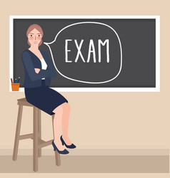 teacher sitting in front of class writing exam in vector image vector image