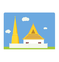 thai temple and pagoda flat simple design vector image vector image