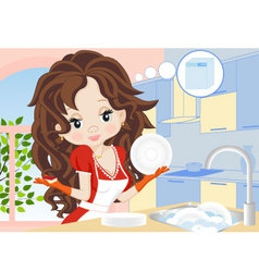 woman wipes the dishes in the kitchen vector image vector image
