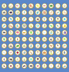 100 media icons set cartoon vector image
