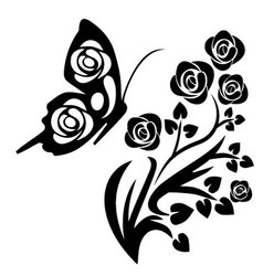 black butterfly and flowers vector image