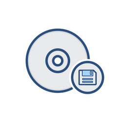 compact disk drive floppy save storage icon vector image vector image