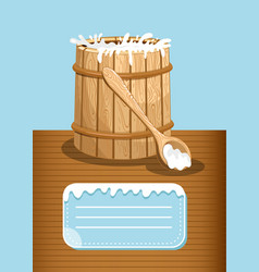 dairy products advertising with milk wooden barrel vector image