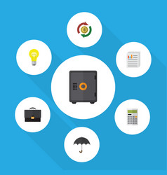 Flat icon finance set of strongbox calculate vector