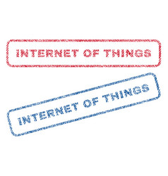 internet of things textile stamps vector image